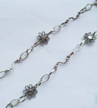 Snake and Flower unfinished chain. 1m length. Antique silver.
